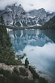 Italy,Pragser Wildsee,Dolomites,South Tyrol,Clouds over mountain lake