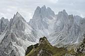Italy,South Tirol,Belluno,Sexten Dolomites,Cadini di Misurina,Barren mountains on cloudy day
