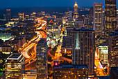 USA,Georgia,Atlanta,Downtown architecture at dusk