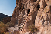 USA,New Mexico,Bandelier National Monument,Cliff dwellings in Bandelier National Monument