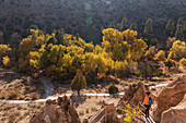 USA,New Mexico,Bandelier National Monument,Woman hiking in Bandelier National Monument