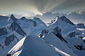 Switzerland,Monte Rosa,Aerial view of Monte Rosa Massif