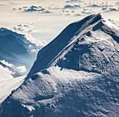Switzerland,Monte Rosa,Aerial view of mountain ridge in Monte Rosa Massif
