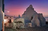 Greece,Cyclades,Mykonos,Paraportiani Orthodox Church at dusk