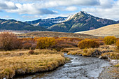 USA,Idaho,Stanley,Landscape with stream and mountains
