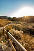 USA,Idaho,Boise,Path along fence in Military Reserve landscape