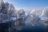 View of the Loisach am Kochelsee in winter, Kochel am See, Bavaria, Germany, Europe