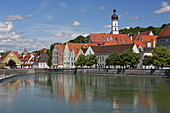 View of the old town of Landsberg am Lech, in the foreground the Lechwehr, Upper Bavaria, Bavaria, Germany