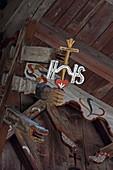 Struts in a facade of a historic property in Wallgau, Upper Bavaria, Bavaria, Germany