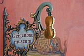 Sign of the Geigenabumuseum in Mittenwald, Upper Bavaria, Bavaria, Germany