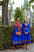Sami in costume in front of the cathedral, Trondheim, Norway