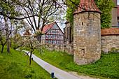 Stadtmauer und Wallgraben in Bad Rodach, Bayern,  Deutschland
