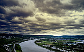 Thunderstorm mood over the Erpeler Ley with a view of the Eifel in the background, Erpel, Rhineland-Palatinate, Germany