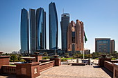 Skyscrapers seen from the entrance to the Emirates Palace Hotel, Abu Dhabi, Abu Dhabi, United Arab Emirates, Middle East