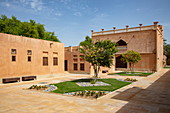 Inner courtyard of the Sheikh Zayed Palace Museum (Al Ain Palace Museum), Al Ain, Abu Dhabi, United Arab Emirates, Middle East