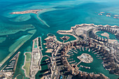 Aerial view of The Pearl Doha island with marina, above Doha, Qatar, Middle East