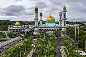 Luftaufnahme der Jame'Asr Hassan Bolkia Moschee, Gadong B, Bandar Seri Begawan, Brunei-Muara District, Brunei, Asien