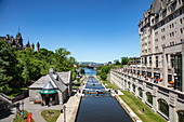 View over the Rideau Locks on the Rideau Canal, Ottawa, Ontario, Canada, North America
