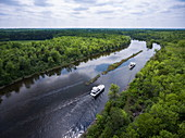 Aerial view of two Le Boat Horizon houseboats on River Tay River, North near Perth, Ontario, Canada, North America