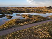Aerial view of two people cycling on a road past lakes and dunes along the North Sea coast at sunset, Midsland aan Zee, Terschelling, West Frisian Islands, Friesland, Netherlands, Europe