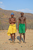 Angola; in the western part of the province of Cunene; two young Mucohona men; Cattle herders; small ethnic group in the southwest of Angola