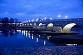 Evening at the Danube and Stone Bridge, Regensburg, East Bavaria, Germany