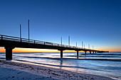 View of the pier in Großenbrode in the morning light, Ostseebad Großenbrode, Baltic Sea, Ostholstein, Schleswig-Holstein, Germany