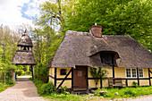Residential house and bell tower St. Johannis-Armenstift in Vogelsang-Grünholz, Schleiregion, Schwansen, Damp, Schleswig-Holstein, Germany
