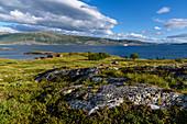 Hurtigruten-Schiff zwischen Festland und Insel Leka, Norwegen