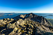 View from the summit of Skjerdingen on the Helgeland coast, hike to the 'The Seven Sisters' seven peaks near Sandnessjöen, Norway
