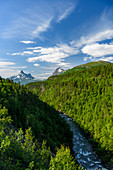 Mountain panoramas and gorges along the Silvervägen (R 77) to Junkerdal, Norway