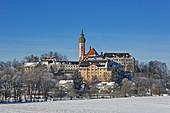 Wintertag in Kloster Andechs, 5-Seen-Land, Oberbayern, Bayern, Deutschland