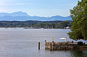 Footbridge in the park of the Evangelical Academy, Tutzing, Starnberger See, in the background the Zugspitze, 5-Seen-Land, Upper Bavaria, Bavaria, Germany