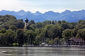 Bernried and panorama of the Ammergau Alps, Lake Starnberg, 5-Seen-Land, Upper Bavaria, Bavaria, Germany