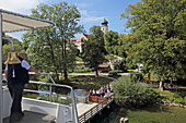 Bernried jetty with the monastery, Starnberger See, 5-Seen-Land, Upper Bavaria, Bavaria, Germany