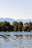 View of Seeshaupt and the Alpine chain, Starnberger See, 5-Seen-Land, Upper Bavaria, Bavaria, Germany