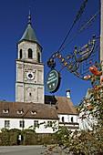 Tavern sign and monastery church of Polling, Pfaffenwinkel, Upper Bavaria, Bavaria, Germany