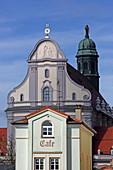 View from Kapellplatz to the Papal Basilica St. Anna, Altoetting, Upper Bavaria, Bavaria, Germany