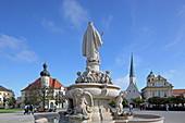 Marienbrunnen on Kapellplatz, Altötting, Upper Bavaria, Bavaria, Germany