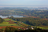 View from the Ratzinger Höhe to the Simsee, Chiemgau, Upper Bavaria, Bavaria, Germany