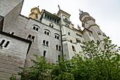 Blick auf Schloss Neuschwanstein von unten, Schwangau, Oberbayern, Deutschland