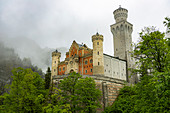 View of Neuschwanstein Castle with clouds and green forests, Schwangau, Upper Bavaria, Germany