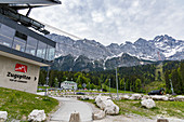 Zugspitze valley station with a view of the summit, Grainau, Upper Bavaria, Germany