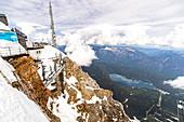 View of Zugspitze platform and the Eibsee, Grainau, Upper Bavaria, Germany