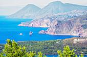 View of Lipari and Salina Island, Vulcano Island, Aeolian Islands, Sicily, Italy