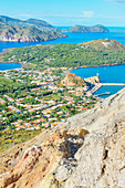 View of Levante harbour and Aeolian Islands archipelago, Vulcano Island, Aeolian Islands, Sicily, Italy,