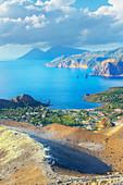 View of Aeolian Islands archipelago from Gran Cratere, Vulcano Island, Aeolian Islands, Sicily, Italy,