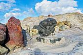 Sculpture made from volcanic rocks, Vulcano Island, Aeolian Islands, Sicily, Italy,
