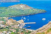 High angle view of Vulcanello and Levante harbour, Vulcano Island, Aeolian Islands, Sicily, Italy
