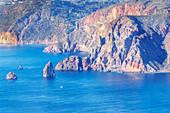 View of Lipari Island from Gran Cratere, Vulcano Island, Aeolian Islands, Sicily, Italy,